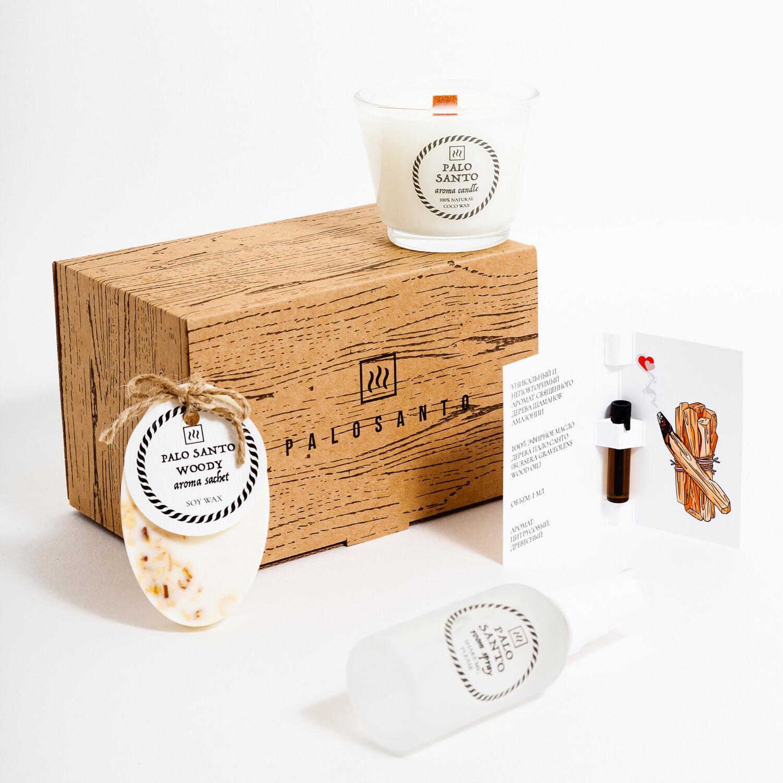 подарочный набор с ароматом пало санто - спрей, масло, соевая свеча, саше